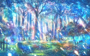Picture forest, cat, girl, fantasy