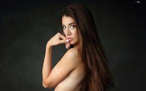 Wallpaper pretty, nude, look, nails, Dmitry Arhar