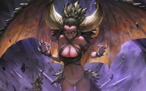 Picture girl, wings, anger, dragongirl
