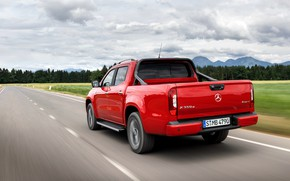 Picture road, red, Mercedes-Benz, back, pickup, 2018, X-Class