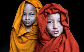 Picture buddha, monastery, portraits, buddhism, religion, myanmar, Two monks in Satay