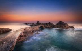 Picture sea, the sky, stones, rocks, pierce