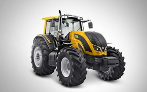 Picture yellow, grey background, wheel, Valtra, FROM