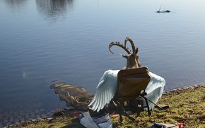 Picture network, river, stay, shore, fishing, wings, goat, the demon, horns, pond, Baphomet
