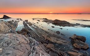 Picture sea, the sky, landscape, sunset, nature, stones, shore, coast, horizon, rocky, stone ridge