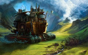 Picture forest, mountains, the city, fiction, art, Mortal Engines, Chronicles of prey cities