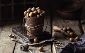 Picture table, Board, nuts, still life, thread, items, a lot, hazelnuts, bucket, scoop
