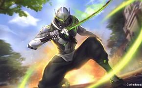 Picture sword, armor, Overwatch, Genji