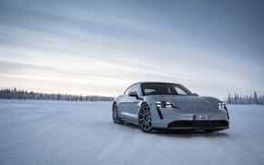 Picture snow, grey, plain, Porsche, 2020, Taycan, Taycan 4S