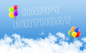 Picture photo, Clouds, The inscription, Birthday, A balloon