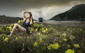 Picture girl, flowers, pose, shore, Asian