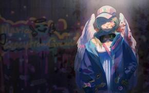 Picture girl, night, lights, graffiti, angel