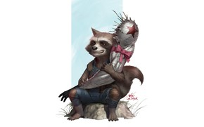 Picture Character, Figure, Bucky, Fantasy, Illustration, Rocket, Raccoon, InHyuk Lee, Art, Style, Hand