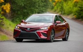 Picture road, red, Toyota, sedan, 2018, Camry, SE Hybrid