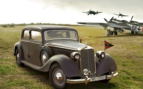 Picture the airfield, Bf.109, Luftwaffe, Saloon, staff car, W142, Typ 320, He.177