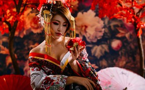 Picture flower, model, Japan