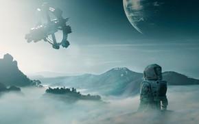 Picture The suit, Station, Planet, Astronaut, Space, Landscape, Planet, Fiction, Sci-Fi, Space Station, Science Fiction, Space …