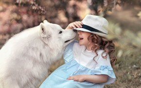 Picture laughter, dog, hat, girl, Samoyed