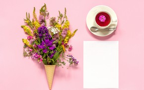 Picture flowers, background, tea, horn, waffle