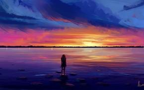 Picture girl, sky, sea, sunset, water, art, figure, clouds, artist, digital art, artwork, silhouette, digital painting, …