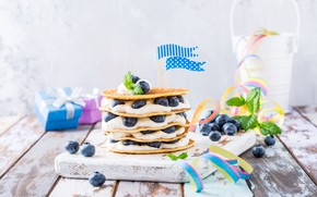 Picture berries, blueberries, dessert, yogurt, pancake cake, Iryna Melnyk
