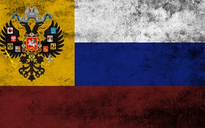 Picture eagle, flag, coat of arms, Russia, tricolor, concrete, the Russian Empire, the two-headed eagle, the …