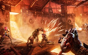 Picture the game, dog, battle, lava, ruins, warhammer, rat, shooter, flamethrower, Necromunda: Hired Gun, кибермастиф