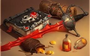 Picture weapons, gold, sword, fantasy, art, book, coins, smirnovschool, Nick Serpilov, Blood book