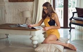 Picture brunette, glasses, pillow, legs, table, crossword, Lika Dolce