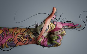 Picture abstraction, background, hand