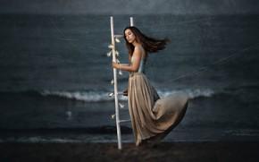 Picture sea, girl, Sofia