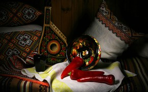 Picture style, retro, music, the dark background, pillow, pepper, bowl, still life, items, musical instrument, composition, …