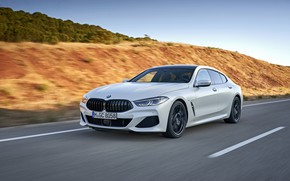 Picture white, coupe, BMW, Gran Coupe, on the road, 840i, 8-Series, 2019, the four-door coupe, Eight, …