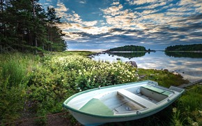 Picture water, trees, landscape, nature, shore, boat, grass, Finland