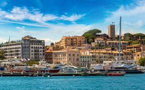 Picture the city, France, Marina, yachts, pier, promenade, France, Cote d'azur, Cannes