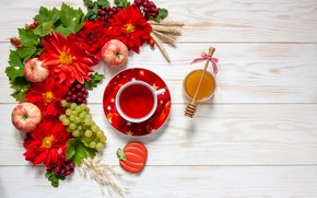 Picture flowers, tea, apples, honey, grapes, bunch, Cup, red, composition