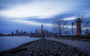 Picture morning, blue, Jersey City, Jersey City