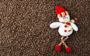 Picture winter, background, holiday, hat, toy, coffee, Christmas, New year, lies, snowman, beads, brown, scarf, coffee …