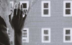 Picture sadness, rain, window, hand