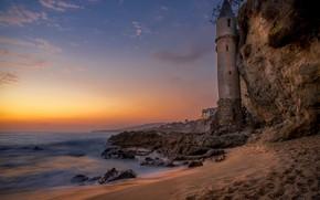 Picture beach, landscape, sunset, nature, rock, stones, the ocean, shore, lighthouse, CA, USA, Victoria Beach
