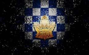 Picture wallpaper, sport, logo, NHL, hockey, glitter, checkered, Toronto Maple Leafs