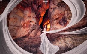 Picture look, girl, photo, rocks, train, dress, Joshua Chang