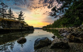 Picture forest, river, rocks, morning, Canada