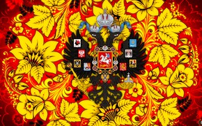 Picture Flowers, Style, Eagle, Background, Russia, Painting, Art, Khokhloma, Double-headed eagle, Khokhloma painting, madeinkipish, Ivan Ivanovich, …