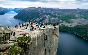 Picture The sky, Nature, Rock, People, Norway, Height, Landscape, The fjord, The Lysefjord