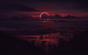 Picture clouds, sunset, nature, Eclipse