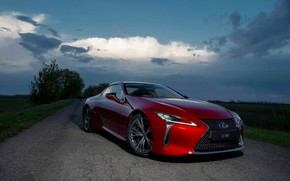 Picture the sky, sunset, auto red Lexus