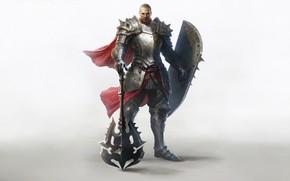 Picture Fantasy, Art, Style, Warrior, Minimalism, Characters, Shield, Armor, Erak note, Twilight Resistance, Lineage Eternal