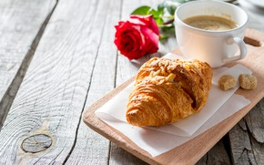 Picture rose, coffee, croissant