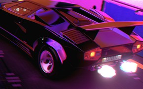 Picture Music, Lamborghini, Fire, 80s, Neon, Countach, Rendering, Lamborghini Countach, 80's, Synth, Retrowave, Synthwave, New Retro …